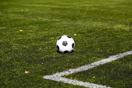 soccer pitch: Black and white soccer ball on green soccer pitch