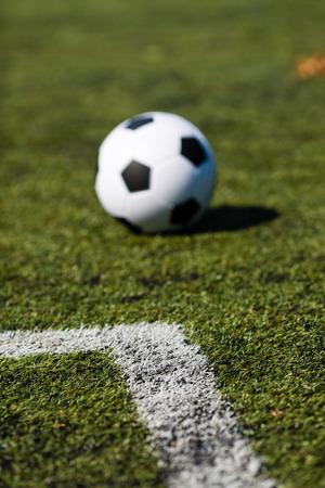 pasto sintetico: Blanco y negro balón de fútbol en campo de fútbol verde.