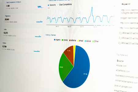 Close-up of computer monitor with web analytics data and pie chart displaying usage statistics from website. photo