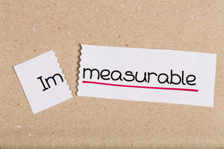 measurable: Two pieces of white paper with the word immeasurable turned into measurable
