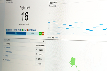 Close-up of web analytics data showing real-time visitors on website with data on white background. photo