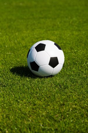 soccer ball on grass: Black and white soccer ball on green soccer pitch. Stock Photo