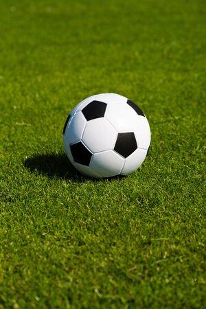 pelota de futbol: Blanco y negro balón de fútbol en campo de fútbol verde.
