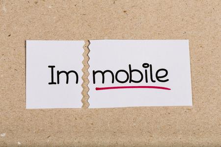 immobile: Dos pedazos de papel blanco con la palabra inm�vil convirtieron en m�vil