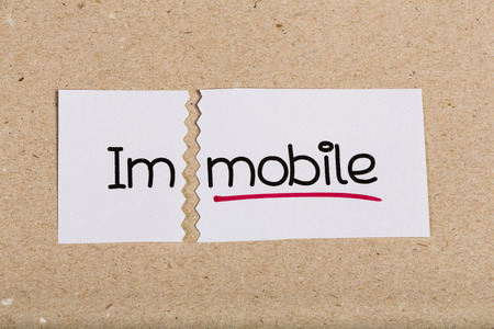 immobile: Two pieces of white paper with the word immobile turned into mobile
