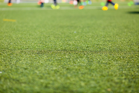 soccer pitch: Close-up of soccer pitch during a soccer training match outdoors on an artificial soccer pitch. Stock Photo