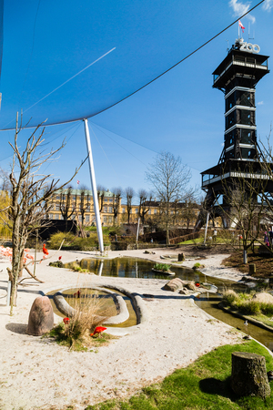 zoological: COPENHAGEN, DENMARK - APRIL 18, 2015: The popular Danish tourist attraction The Copenhagen Zoological Garden welcomes visitors on a sunny day during spring.