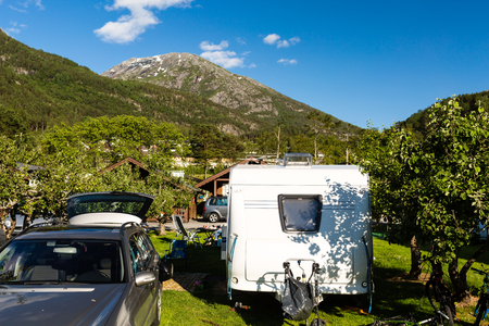 camping site: Camping site in the Norwegian countryside near Hardangerfjord in Hordaland county in Norway. Stock Photo