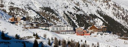 accomodation: Panorama of the ski village Hochsoelden at the ski resort Soelden in the Austrian Alps.