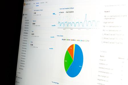 estadisticas: Primer plano de monitor de ordenador con datos de an�lisis web y gr�fico circular que muestra las estad�sticas de uso de la p�gina web. Foto de archivo