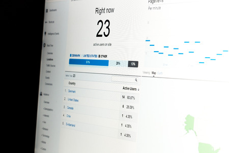 Close-up of web analytics data showing real-time visitors on website with data on white background. Stock Photo