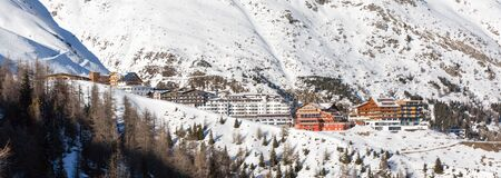 austrian village: Panorama of the ski village Hochsoelden at the ski resort Soelden in the Austrian Alps.