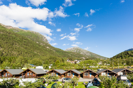 hardangerfjord: Camping site in the Norwegian countryside near Hardangerfjord in Hordaland county in Norway. Stock Photo