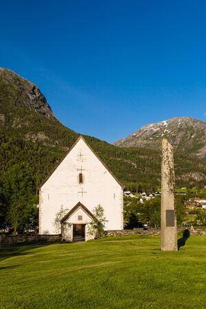 The old Christian church in the small village of Kinsarvik near Hardangerfjord in Norway.
