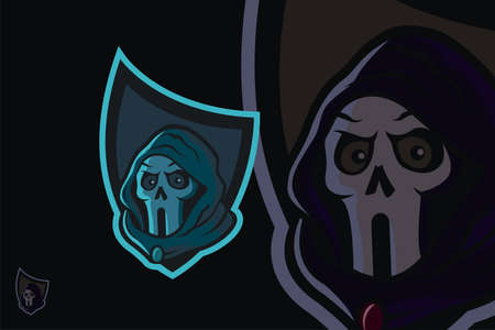Hooded skull head logo in shield, suitable for team logos, community logos, game logos, icon images, symbols, etc.