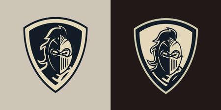 Spartan warrior head mascot logo in shield, suitable for brand logos, esports logos, team logos, icon images etc.