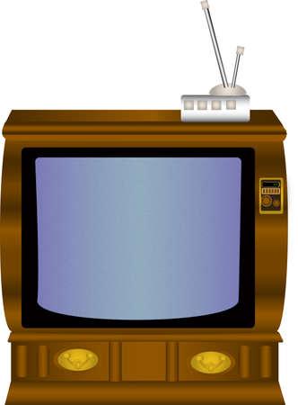 Oude Houten TV met antenne Box