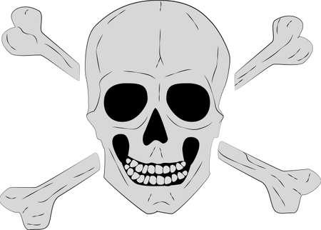 cross bones: Calavera y huesos cruzados