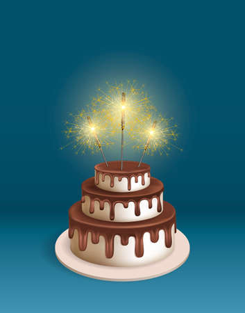 melting chocolate: Birthday realistic 3d vector cake with sparkler. Illustration for poster or birthday postcard. Melting chocolate icing