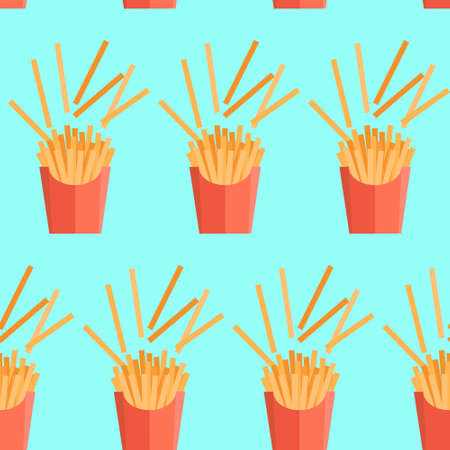 Vector texture of pattern with french fries. Potato in a flat style. Seamless background Illusztráció