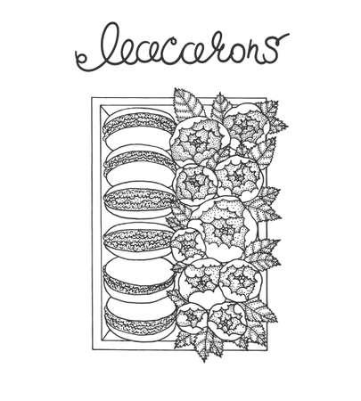 Set van macarons in doos met pioenen. Hand getrokken illustratie. Vector schets. Stock Illustratie