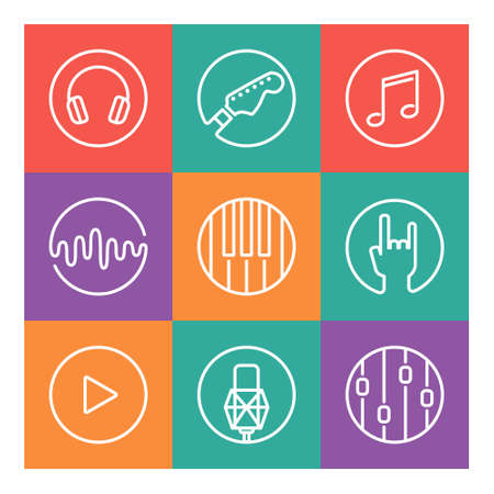condenser: Collection of vector music or recording studio icons. Vector illustration of musical elements - guitar, horns, notes, mixer, piano, microphone, headphones, sound wave, equalizer