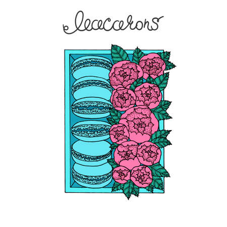 Set of macarons in box with peonies. Illustration