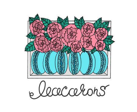 Set van macarons in doos met pioenen. Hand getrokken illustratie. schetsen.