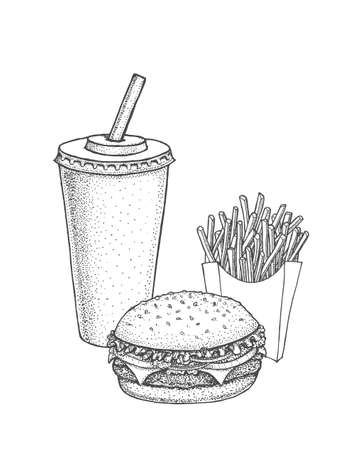 Set of hand drawn fast food.
