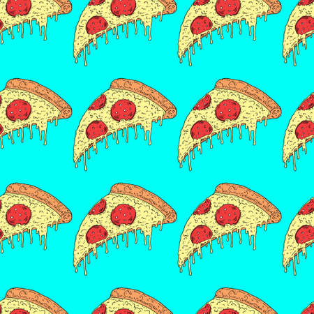 illustration melting slice of pizza pepperoni Ilustrace