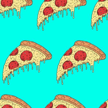 pepperoni: illustration melting slice of pizza pepperoni Illustration