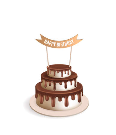 tiered: Birthday realistic cake. Illustration for poster or birthday postcard. Melting chocolate icing. Tiered cake. illustration