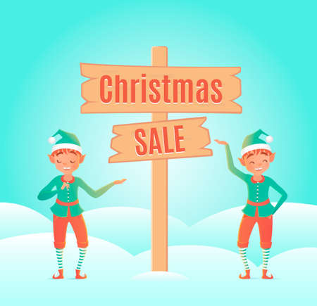 elves: Two elves. Cute character.  illustration. Design template with concept
