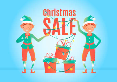 elves: Christmas sale design template. Christmas elves and gift boxes