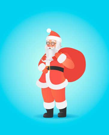 Santa Claus carrying big sack on his shoulder. Cute christmas character. illustration