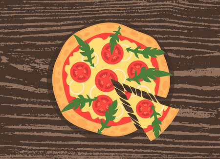 margherita: Hot pizza slice with melting cheese on a rustic wooden background. illustration of margherita. Cartoon style