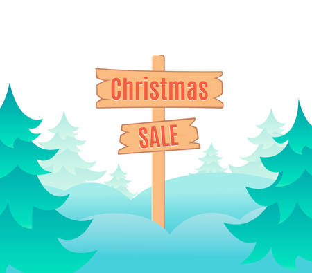 signboard design: Christmas sale design template with signboard. illustration. Cartoon style