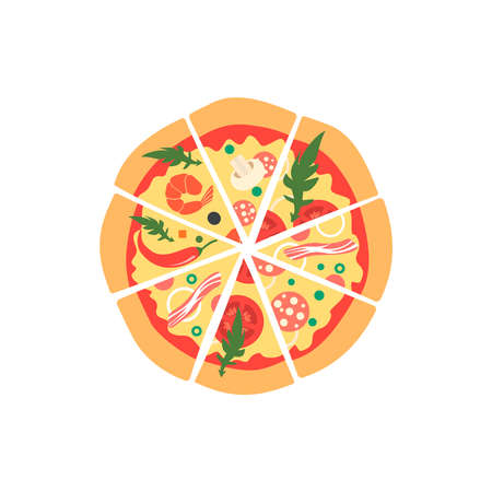 pepperoni: Different pizza slices with bacon, mushrooms, onion, pepper, chili, shrimp, tomatoes, pepperoni. Top view. Cartoon style