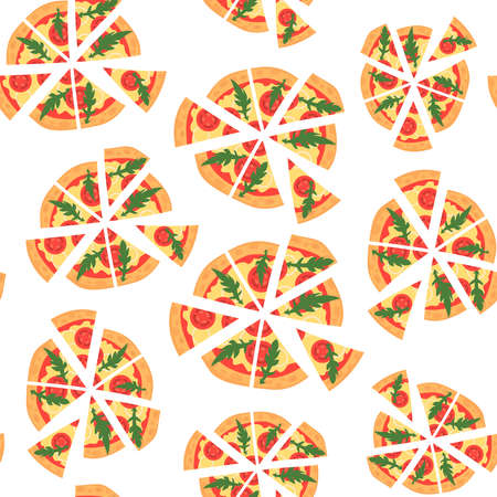margherita: texture of pattern with margherita pizza. Slices in a flat style. Seamless background. Cartoon style