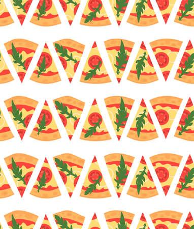margherita: Seamless pattern with pizza margherita slices. illustration. Cartoon style Illustration