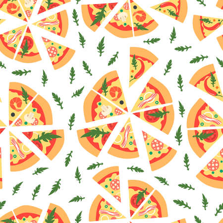 Seamless pattern with assorted pizza slices. illustration. Repeating background.Cartoon style