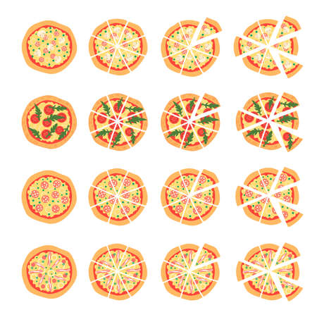 margherita: Set with different varieties of pizza. Cut slices. Margherita, shrimp, bacon, onion, tomatoes. Top view. illustration.  Isotated on white