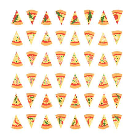 margherita: Set of pizza slices with different toppings including shrimps, chili pepper, mushrooms, bacon, cheese, onion, tomatoes, salami. illustration. Cartoon style