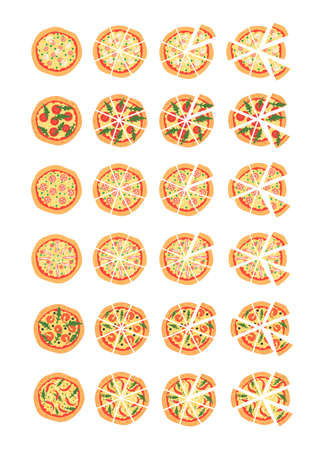 margherita: Set with different varieties of pizza. Cut slices. Margherita, shrimp, bacon, onion, tomatoes. Top view. illustration. Cartoon stylized