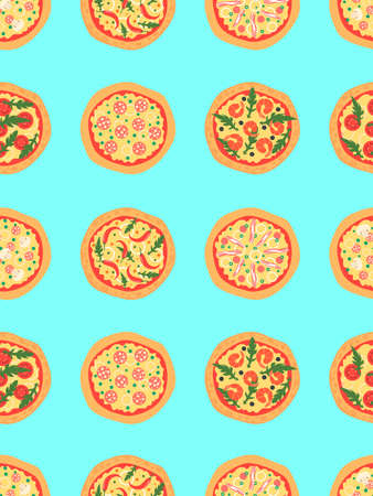 margherita: Seamless pattern with different pizza including margherita, pepperoni, shrimp, onion, chili pepper, bacon, tomatoes. background. Cartoon stylized