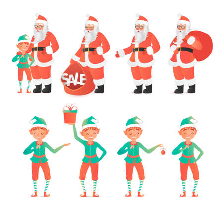 Design template with Santa Claus and elves. illustration. Cartoon style
