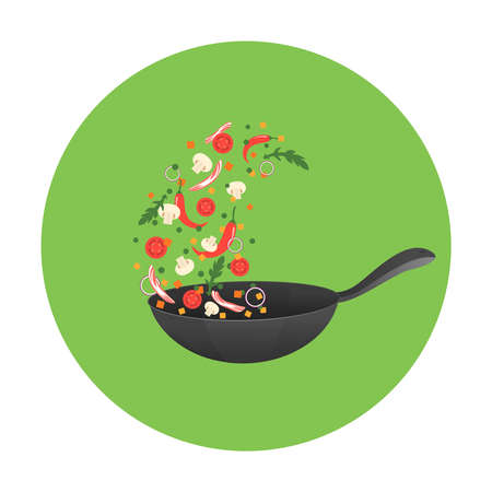 Cooking process illustration. Flipping Asian food in a pan. Cartoon style