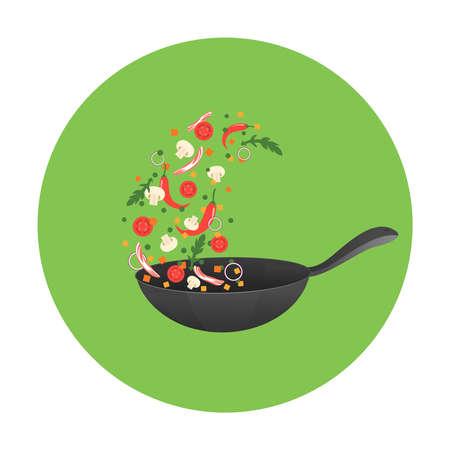 illustrazione processo di cottura. Flipping cibo asiatico in una padella. stile del fumetto Vettoriali