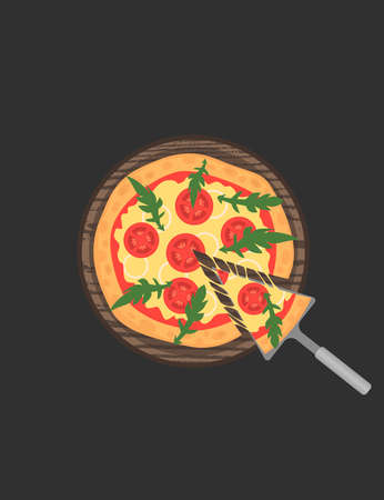 margherita: Margherita pizza on wooden board on black table. Slice with melting cheese. illustration. Tomatoes and arugula. Top view