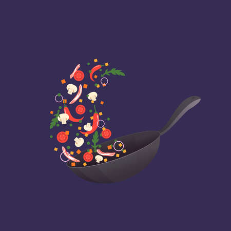 Cooking process illustration. Flipping Asian food in a pan. Cartoon style. Flat Vectores